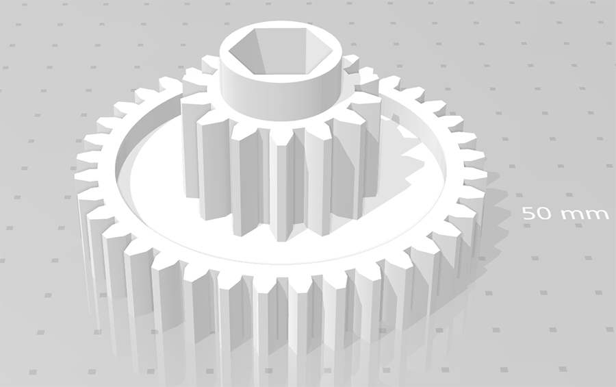 CAD rendering of replacement cog for Fellowes paper shredder PS60C-2